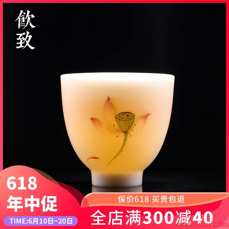 Ultimately responds to dehua white porcelain character kung fu tea cups large master cup sample tea cup tea taking ceramics cup a cup of tea