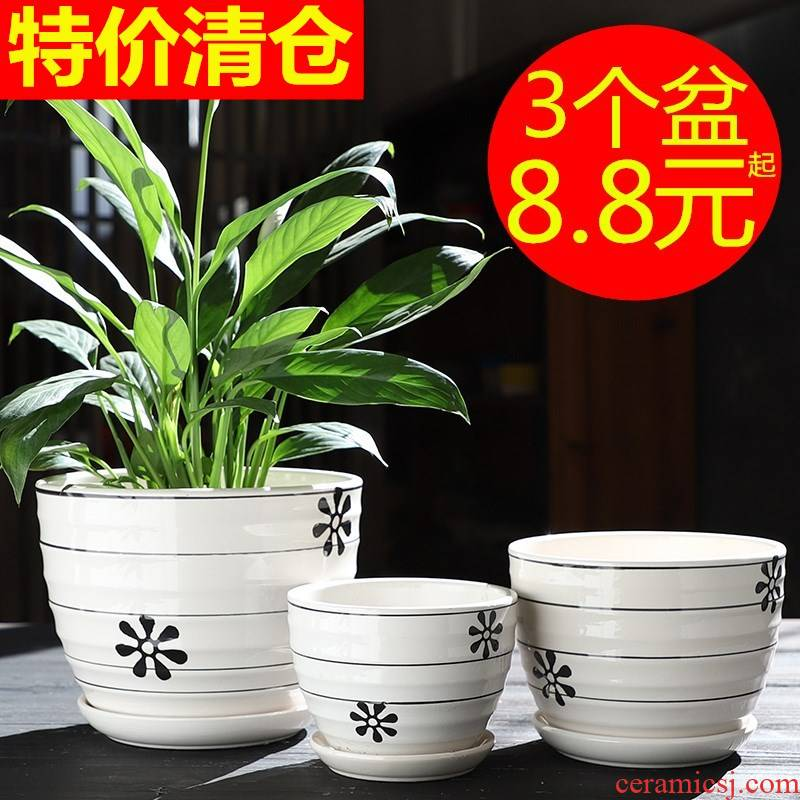 Heavy flowerpot ceramic large special offer a clearance household with tray flower pot in creative move money plant bracketplant, fleshy