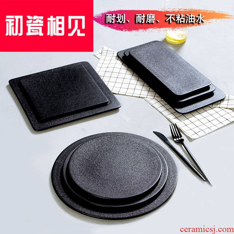 Meet early porcelain dish, black western - style food steak ceramic tableware creative sushi plate of Japanese household cake
