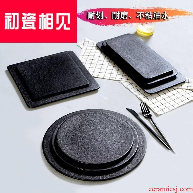 Meet early porcelain dish, black western - style food steak ceramic tableware creative sushi plate of Japanese household cake