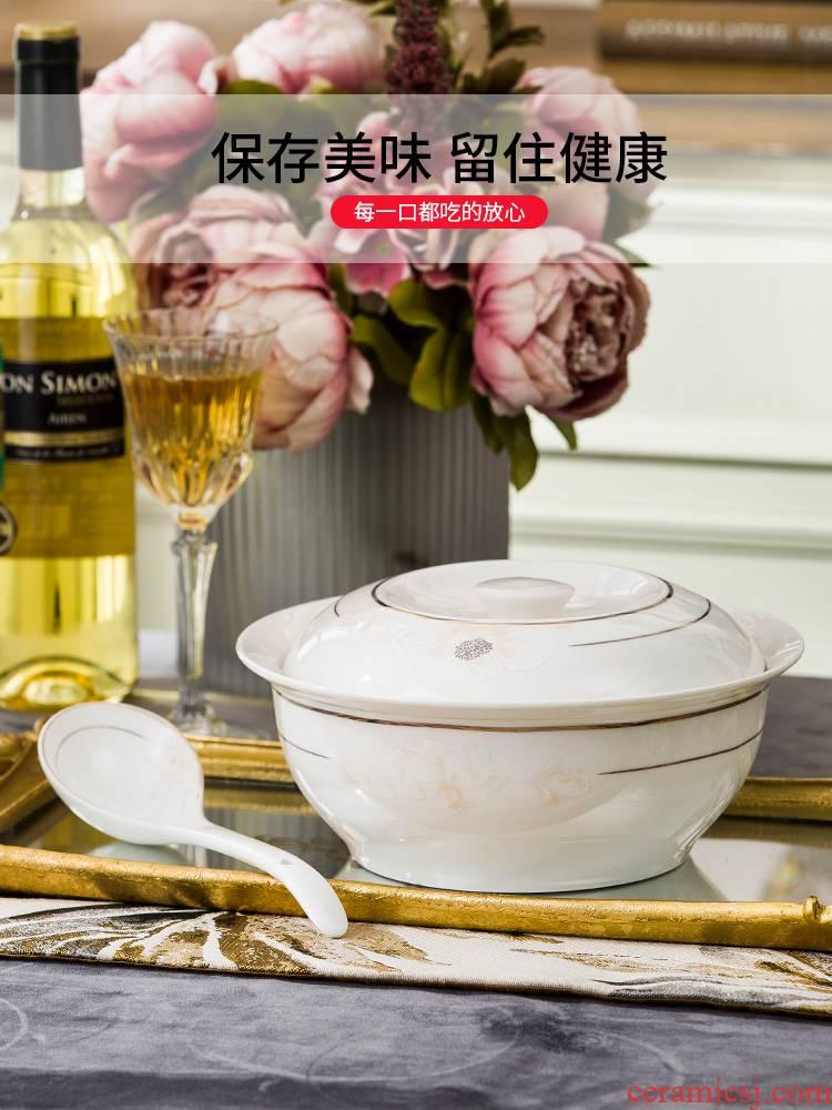 Jingdezhen ceramic with cover soup pot pot soup pot dishes set tableware circular creative large household large soup bowl