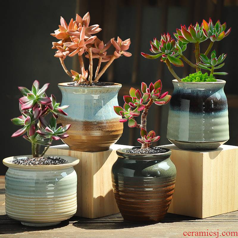 Fleshy flowerpot ceramic clearance package mail sale of large diameter coarse pottery breathable contracted large old meat the plants flower pot
