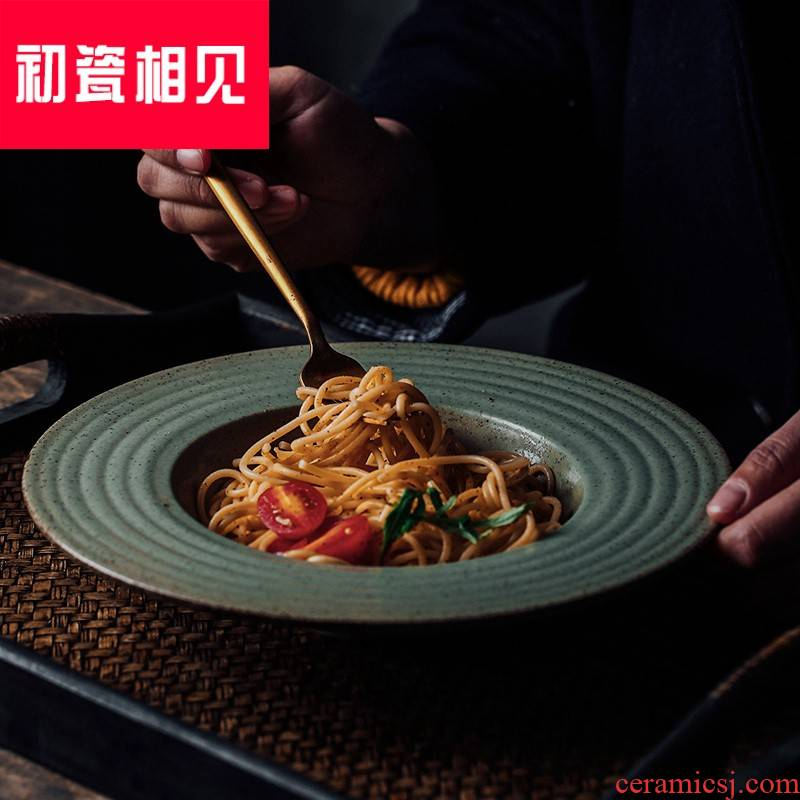 Porcelain meet each other at the beginning of the creative ceramic straw plate western pasta dish fruit salad dish dish dish household fine thread soup