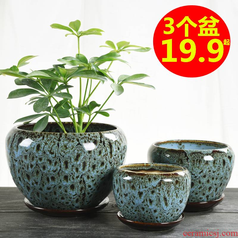 Flowerpot ceramic large special offer a clearance with tray bracketplant contracted creative other small fleshy meat meat the plants flower pot