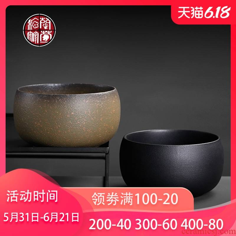 Tea to wash to the ceramic household large Japanese built water coarse pottery meng writing brush washer archaize Tea wash cup of black pottery vessels