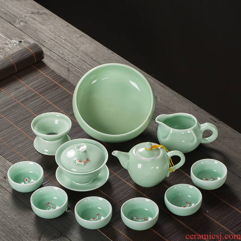 Celadon kung fu tea set suit small household contracted tea tray automatic ceramic teapot teacup carp lazy people make tea