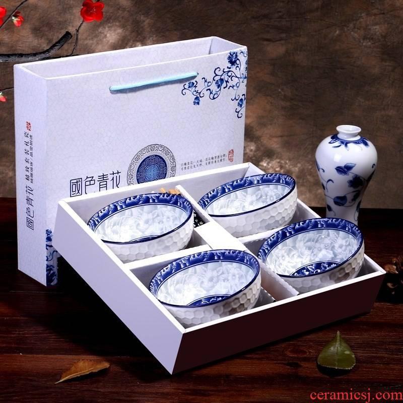 Creative blue and white porcelain bowl chopsticks household gifts tableware marriage Korean bowl gift set picking return gift box