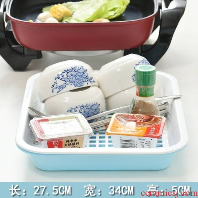 The Large size PP plastic household square double hot pot dish xiancai basins glass cup tray laden fruit drop