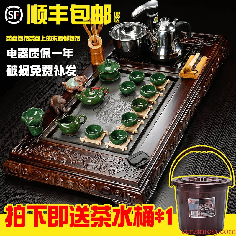 Hai make contracted sharply solid wood automatic tea tray tea table of a complete set of household ceramics kung fu tea, tea sets