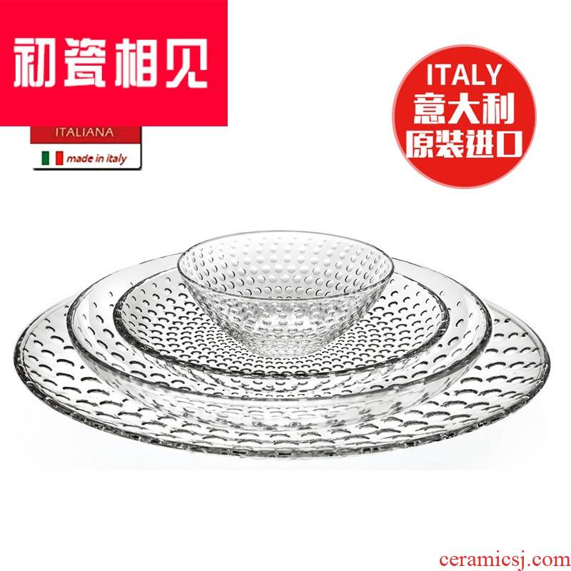 Italy porcelain meet early large fruit bowl crystal glass disc European fruit basin tableware household salad bowl