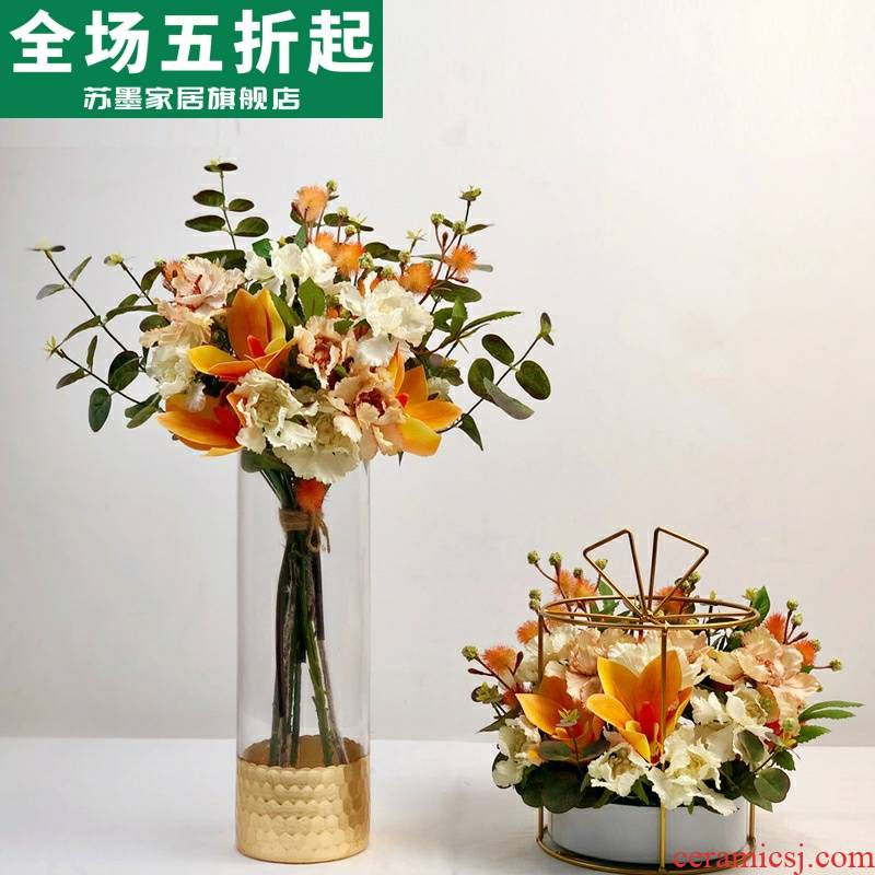 Simulation orange high - grade example room soft outfit design household act the role ofing is tasted furnishing articles suit sitting room tea table table flower art