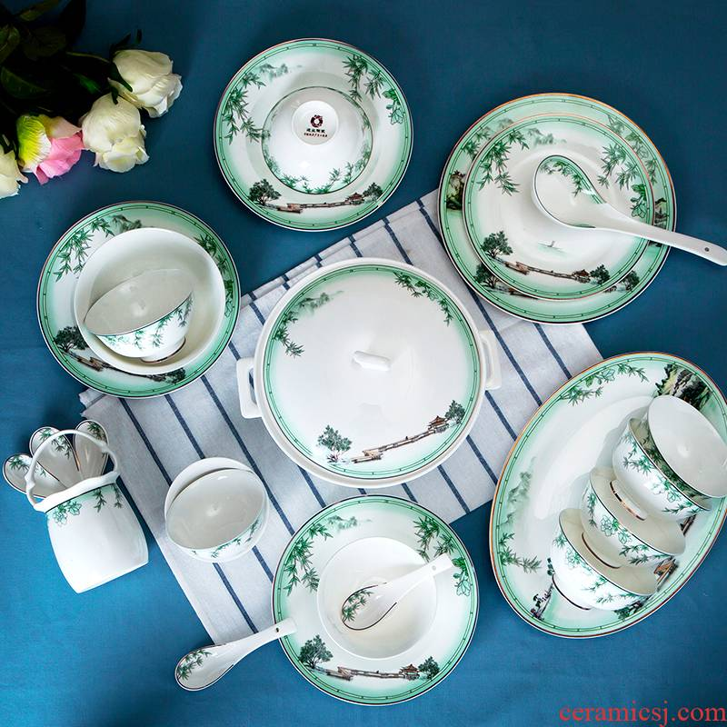 Jingdezhen ceramic bowl dish dishes suit household portfolio European - style ipads porcelain tableware dishes of eating Chinese style dinner