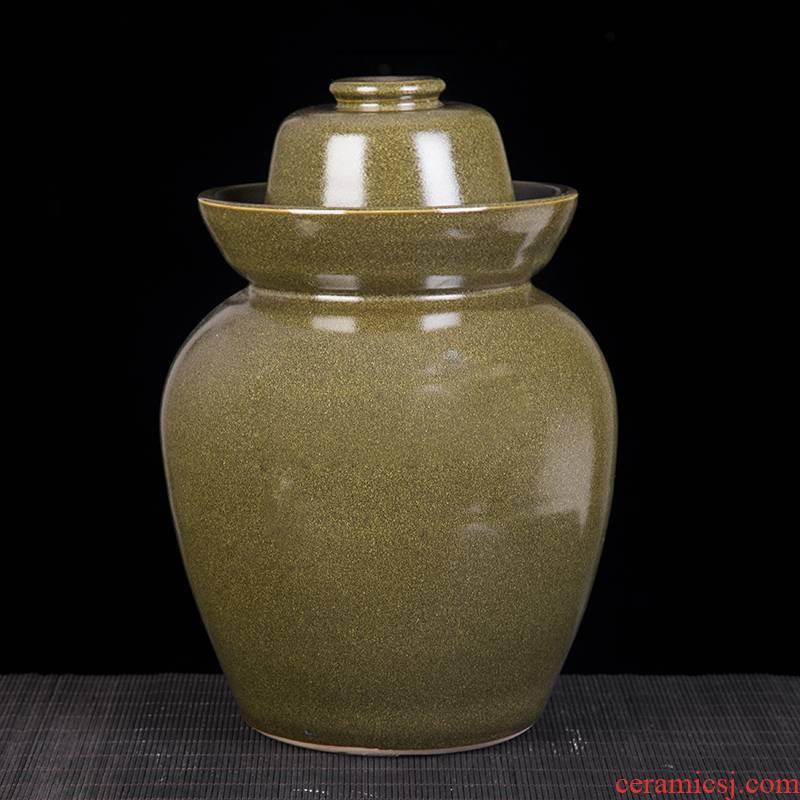 Ceramic double pickle jar lid seal pickled kimchi jar salty duck egg storage jar domestic large - sized pickle jar