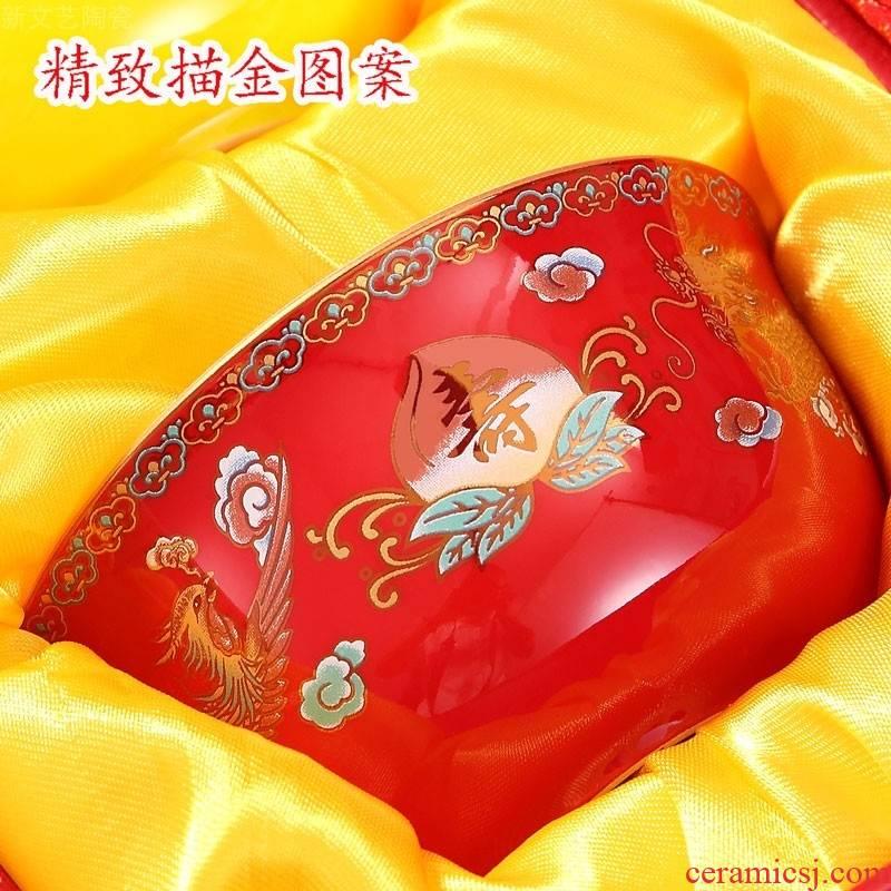 BQ longevity bowl order to acknowledge Chinese ceramic tableware birthday gift box suit old people elder birthday wholesale