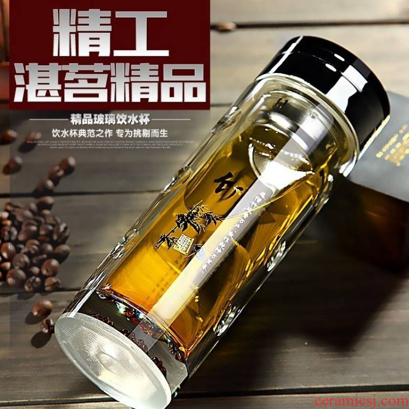 High - grade crystal double High temperature resistant glass glass insulation vacuum business tea portable water separation of men and women