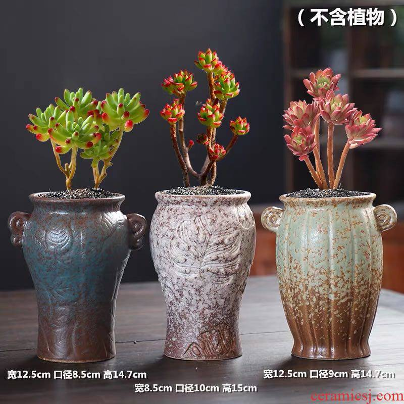 Fleshy flower POTS of large diameter clearance package mail creative combination of potted the plants and old coarse pottery breathable restoring ancient ways, Fleshy