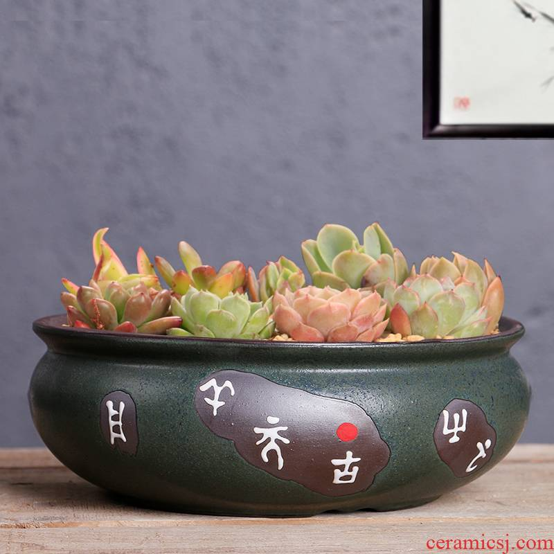 Large fleshy flowerpot ceramics special offer a clearance perforated breathable creative move meat the plants flower POTS, Large diameter platter