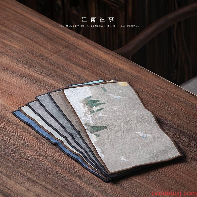 Jiangnan past double - sided velvet bibulous kung fu tea tea towels zen tea towel cloth with parts tea table cloth rags