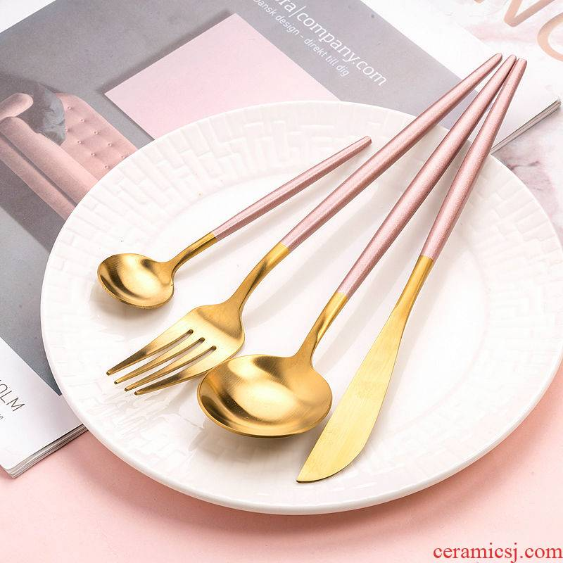 304 stainless steel web celebrity knife and fork cutlery set household beefsteak dessert spoon, four - piece - ins of the wind
