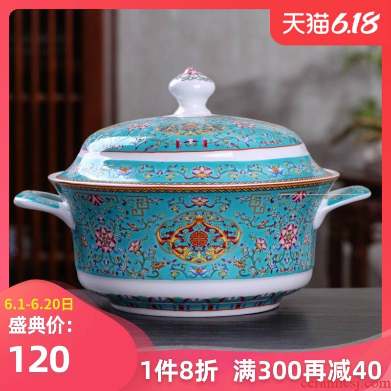 Colored enamel tureen large rainbow such use Chinese style household tableware bowls archaize ceramic pan with cover pot soup pot