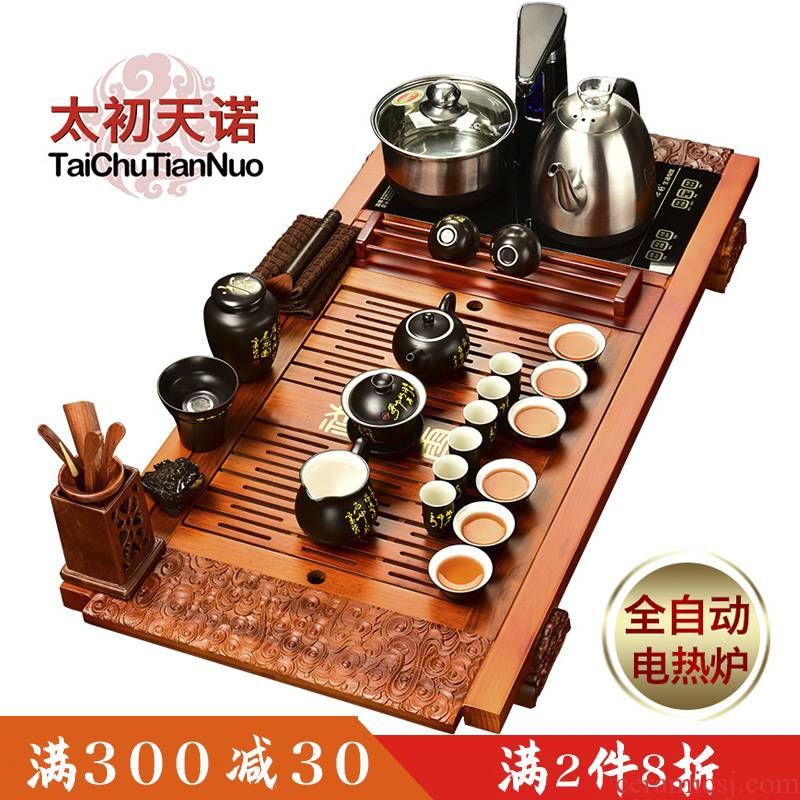 Automatic tea sets the beginning day, violet arenaceous kung fu suit household solid wood four ground and office use the electric stove