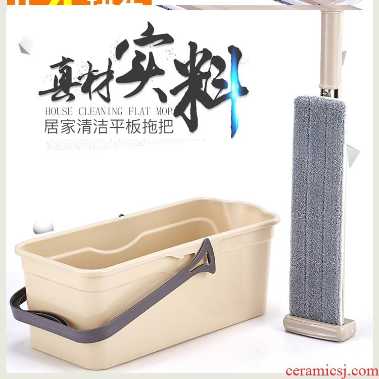 Large free hand flat mop 42 cm lazy since squeezed water spin mop floor tile household mop