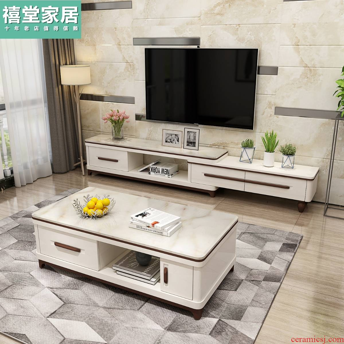 I and contracted marble TV ark of tea table combination suit scalable, film and television ark, Nordic small family sitting room