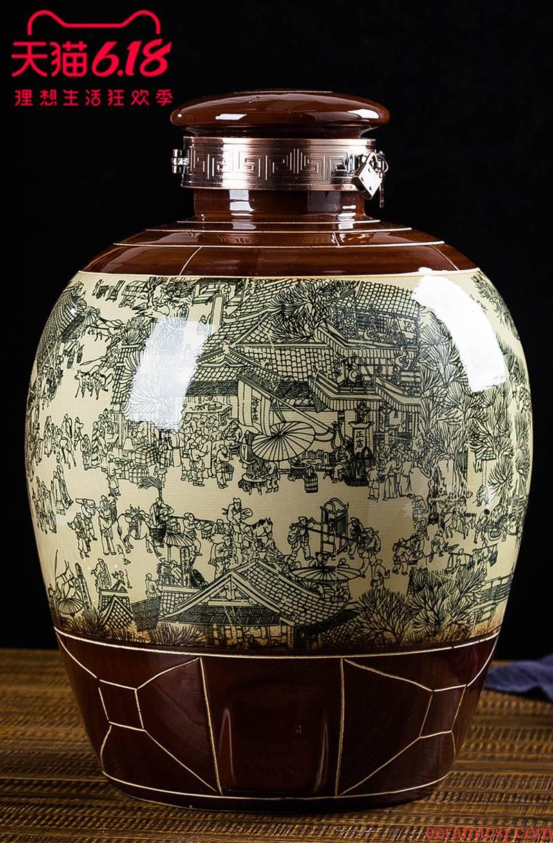 JingDe archaize big jars of household sealing liquor bottle ceramic deposit it 10 jins 20 jins 50 kg to mercifully wine