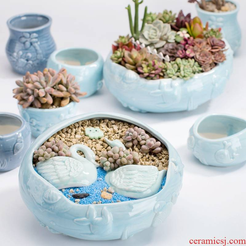 Turquoise, creative move household flow glaze northern wind size diameter more than express meat meat the plants flower pot ceramics