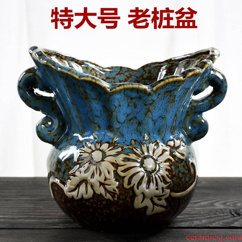 Old high pot large basin of creative move special offer a clearance package mail fleshy plant coarse pottery flowerpot more meat