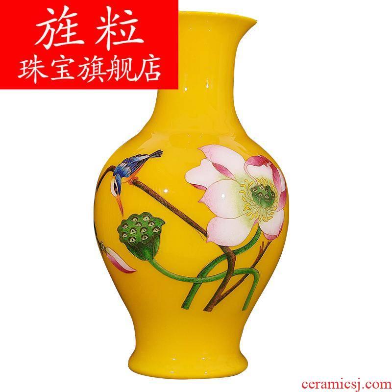 Ev jingdezhen ceramics gold straw lotus pond moonlight vases, flower arrangement sitting room of new Chinese style decoration