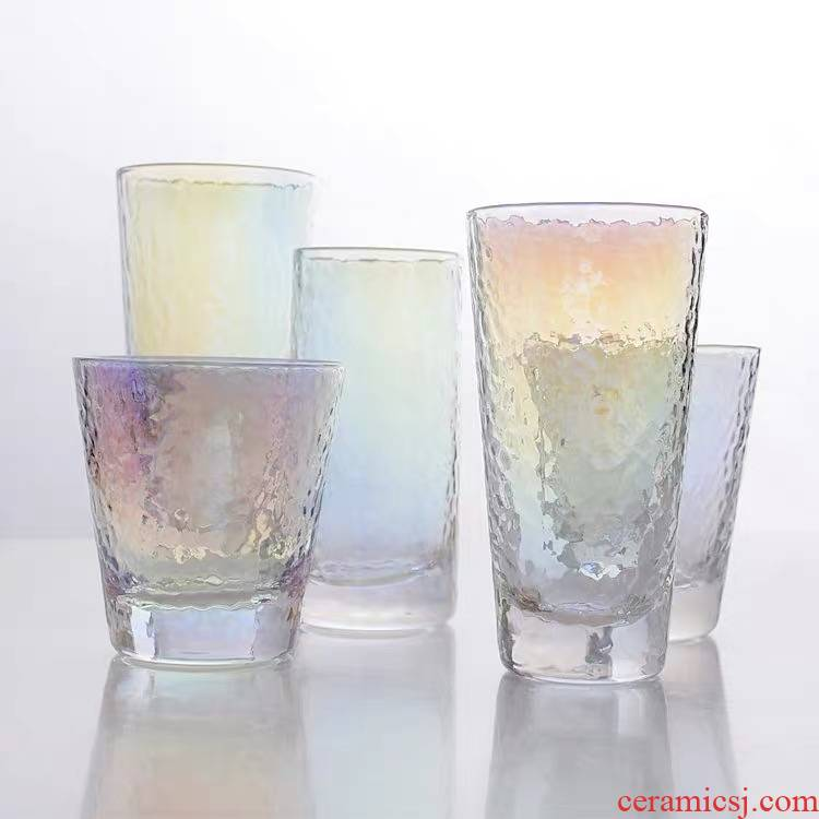Japanese creative dazzle see hammer eye grain glass glass glass cups cold ultimately responds fruit juice milk cup suit