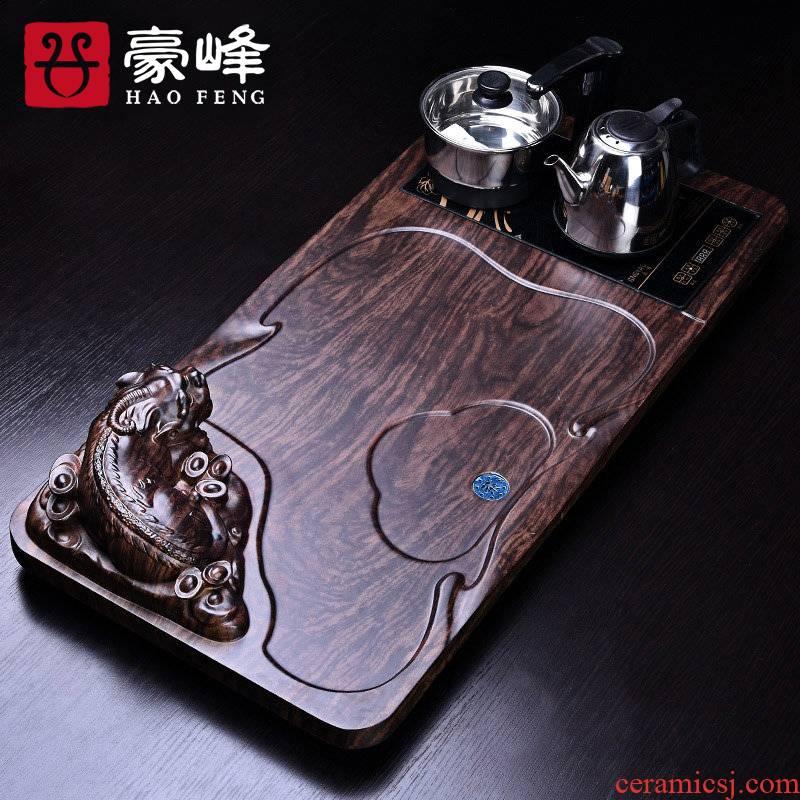 HaoFeng bamboo tea tray was sea tea sets tea tray tea saucer kung fu tea set solid wood tea consolidation