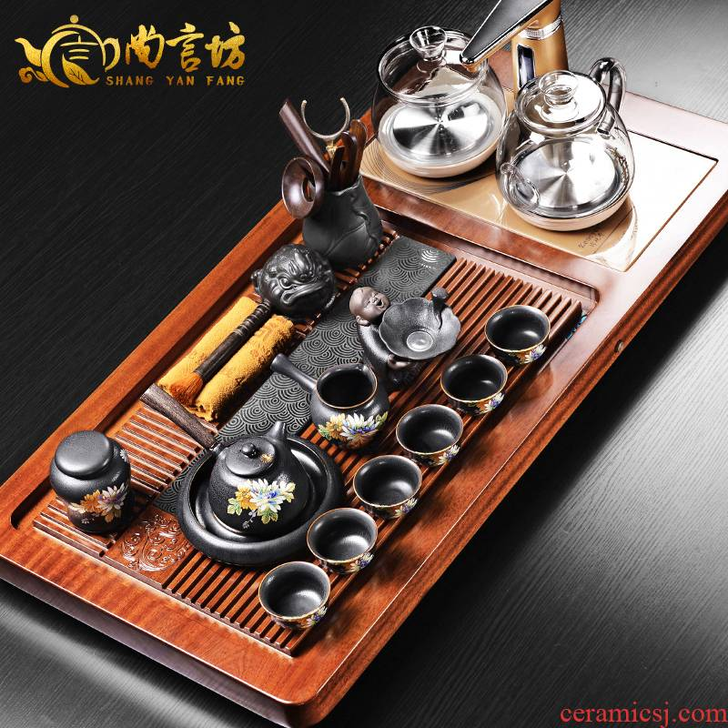 It still lane four one solid wood tea set household contracted and I kung fu tea tray automatic electric furnace