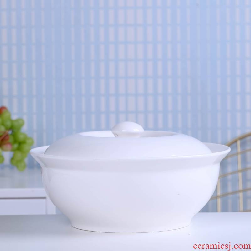 Jingdezhen ceramic white large soup bowl of household microwave oven with cover soup basin product of pot mercifully rainbow such as bowl dish bowl of soup
