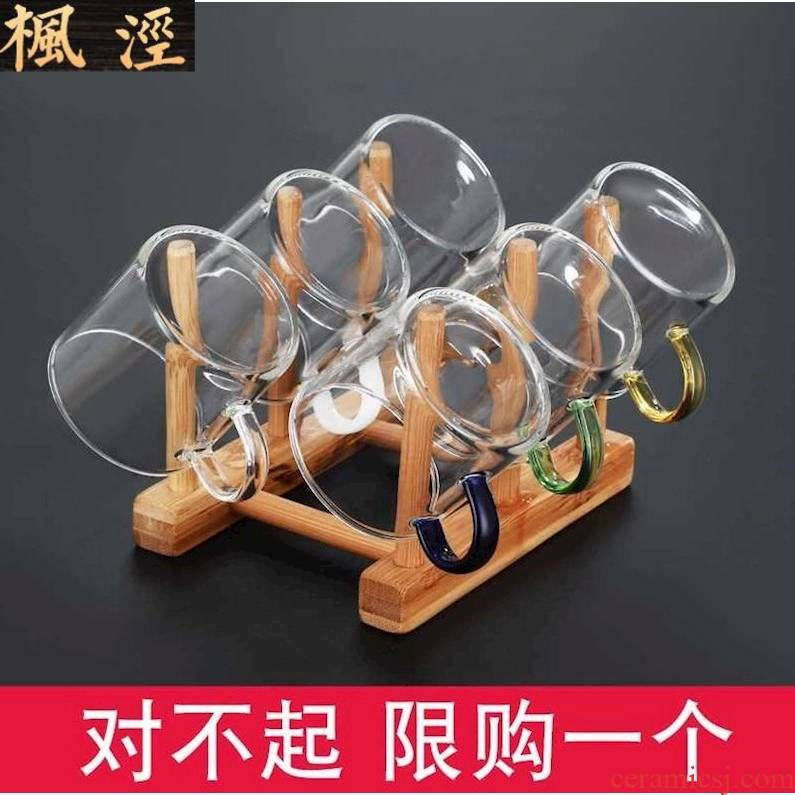 Creative glass cups heat - resistant household kung fu tea set transparent single master cup upset take 6