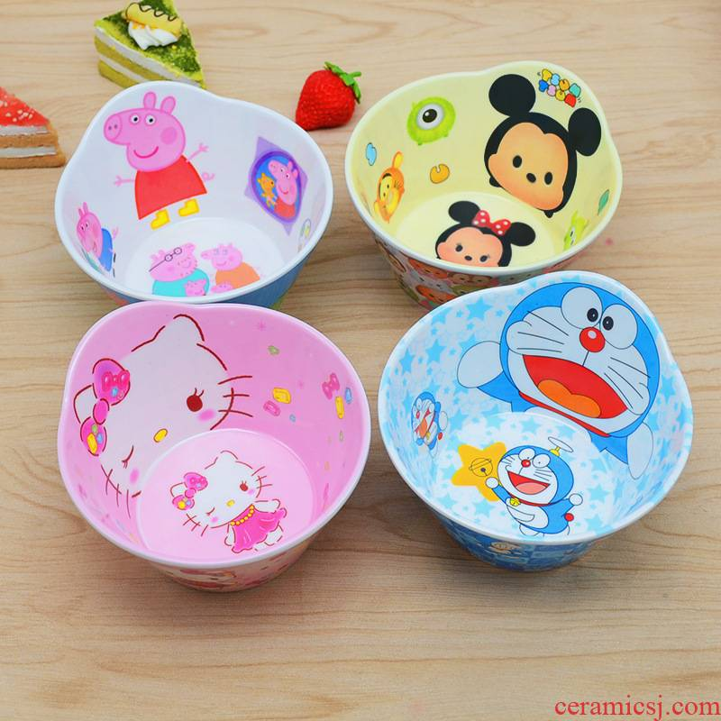 Children assist food bowl spoon, chopsticks tableware suit express cartoon pig baby drop students eat paggy melamine bowl