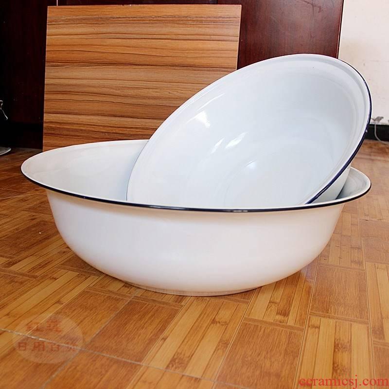 Enamel big children wash tub bath tub big basin fire experiment 50/55/60/70 cm large xiancai basins