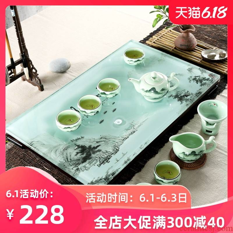 Home sitting room ceramic kung fu tea tea cup tea tray was suit I and contracted toughened glass tea sets with tea