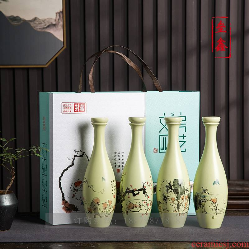 1 kg with an empty bottle of jingdezhen ceramic household sealed jar jar wine canned wine gift boxes