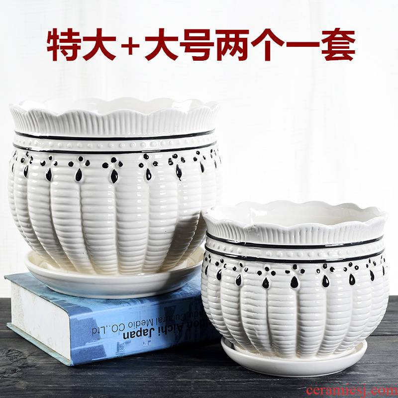 Flowerpot ceramic creative move large extra large special offer a clearance with tray was contracted household more than other meat flower pot