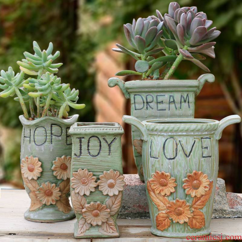 The Fleshy flower pot large old running the special offer a clearance of creative move restoring ancient ways of large diameter thick clay ceramic flesh POTS of the plants