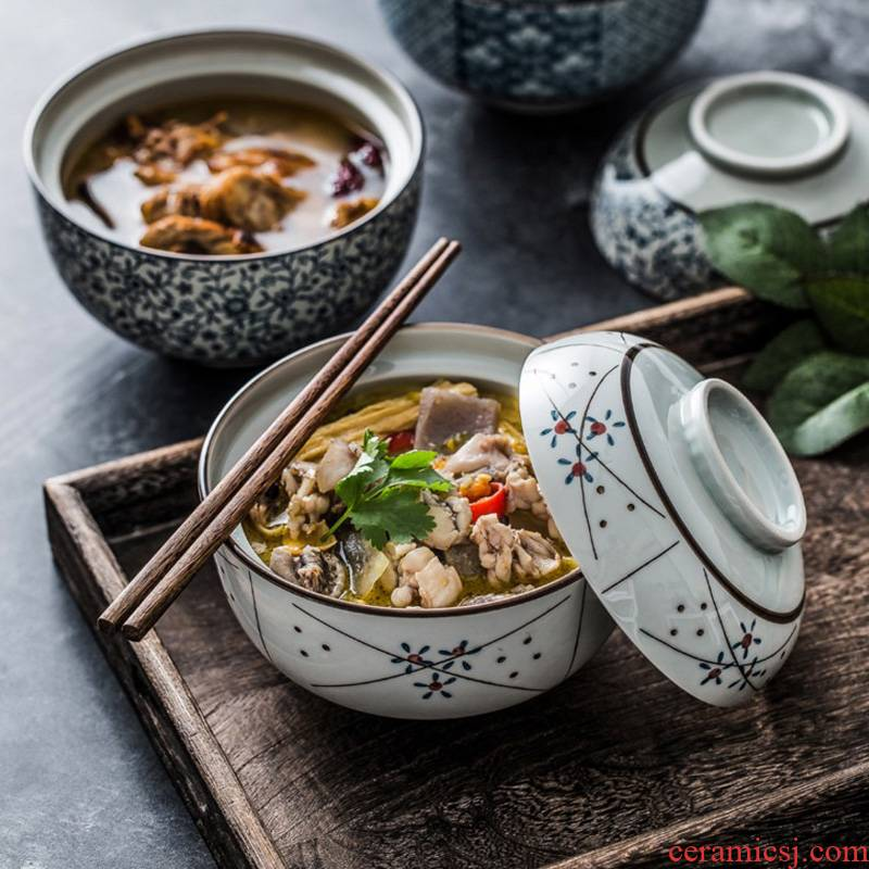 Japanese medium, the ceramic bowl with lid rainbow such as bowl with cover mercifully water steamed egg bowl home baby bowl bowl of stew