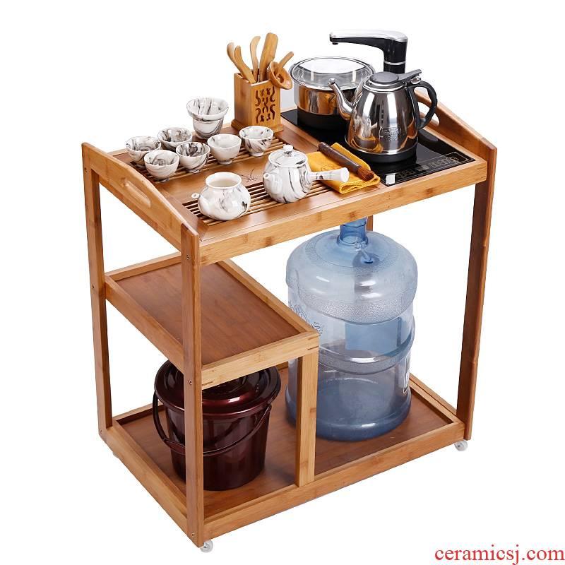 Small household car balcony recreational tea tea table Small portable bamboo kettle body contracted and I tea table