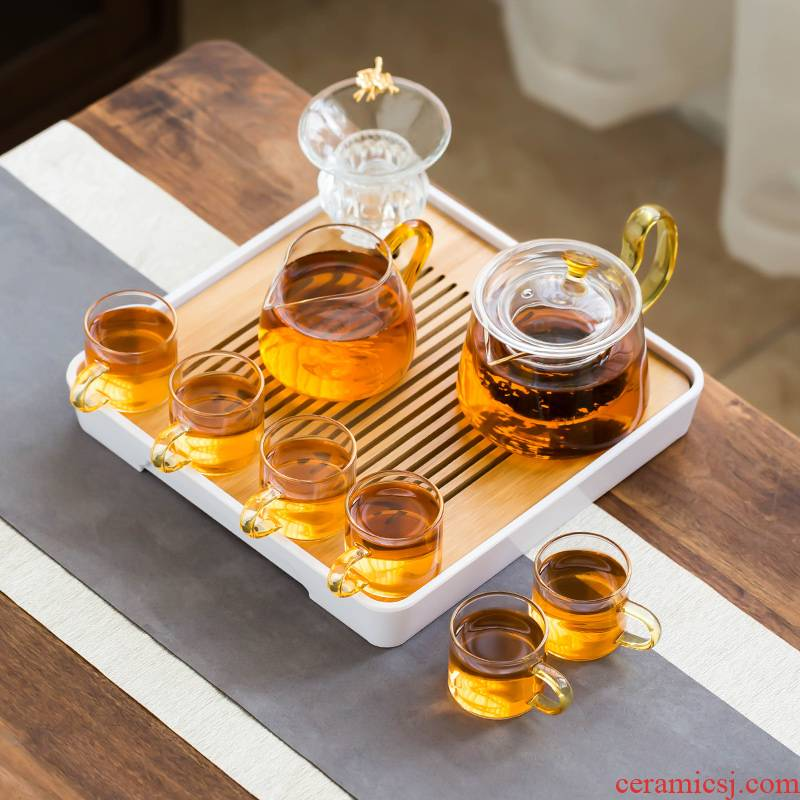 The Heat - resistant glass tea set suit modern household kunfu tea transparent small tea set, contracted Japanese tea cups