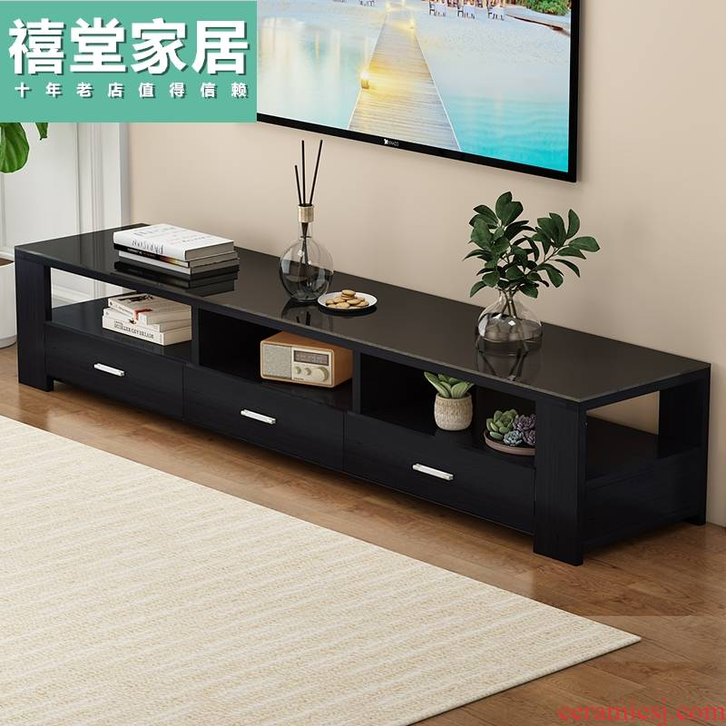 TV ark combination of I and contracted small family home sitting room tea table solid wood bedroom toughened glass TV cabinet
