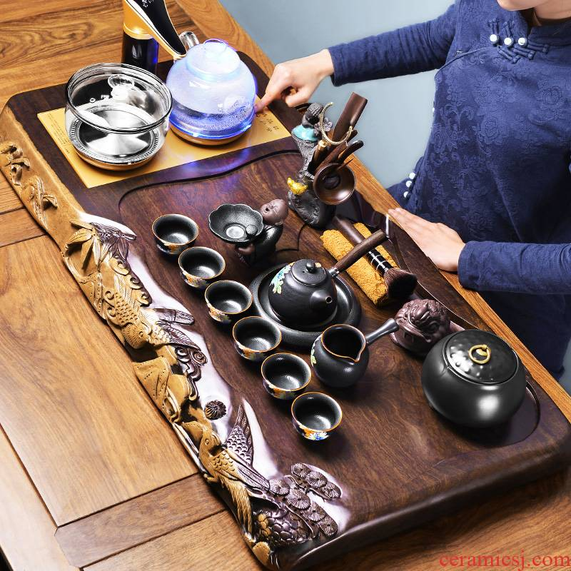 It still fang the whole piece of ebony wood log four unity kung fu tea tray household contracted and I tea set