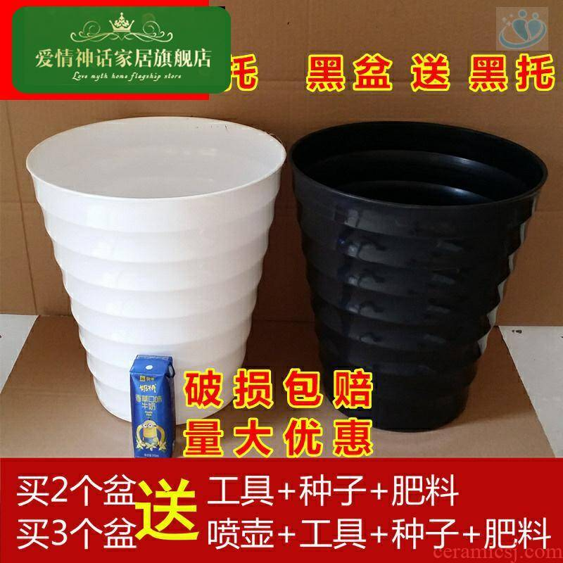 Super extra large and thick white plastic flower POTS imitation ceramic high heavy round flower pot thread flowerpot