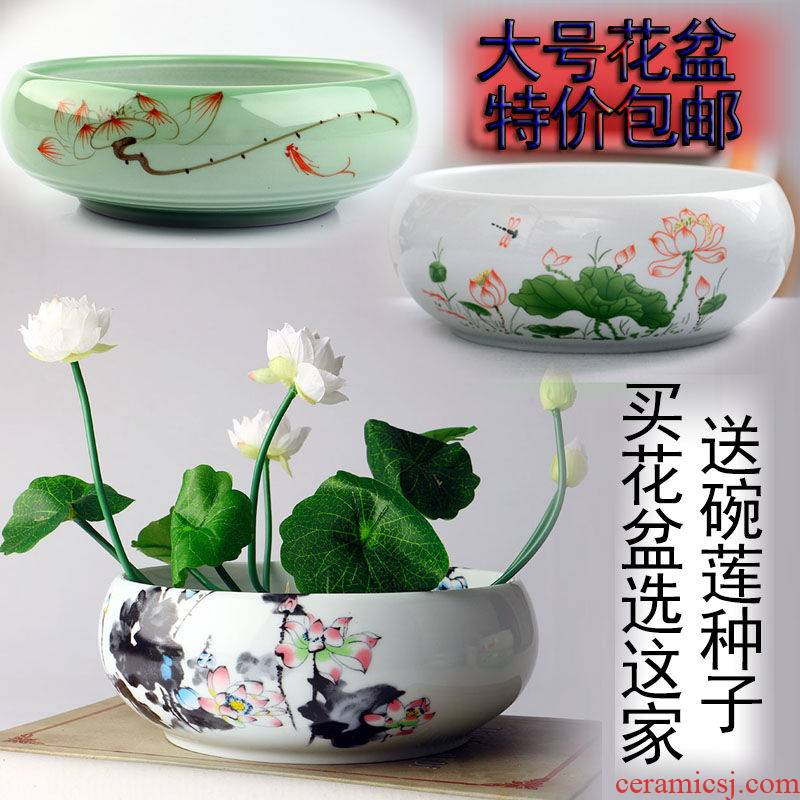 Special offer large bowl lotus basin ceramic flower pot copper money plant grass daffodils water lily lotus hydroponic plant pot