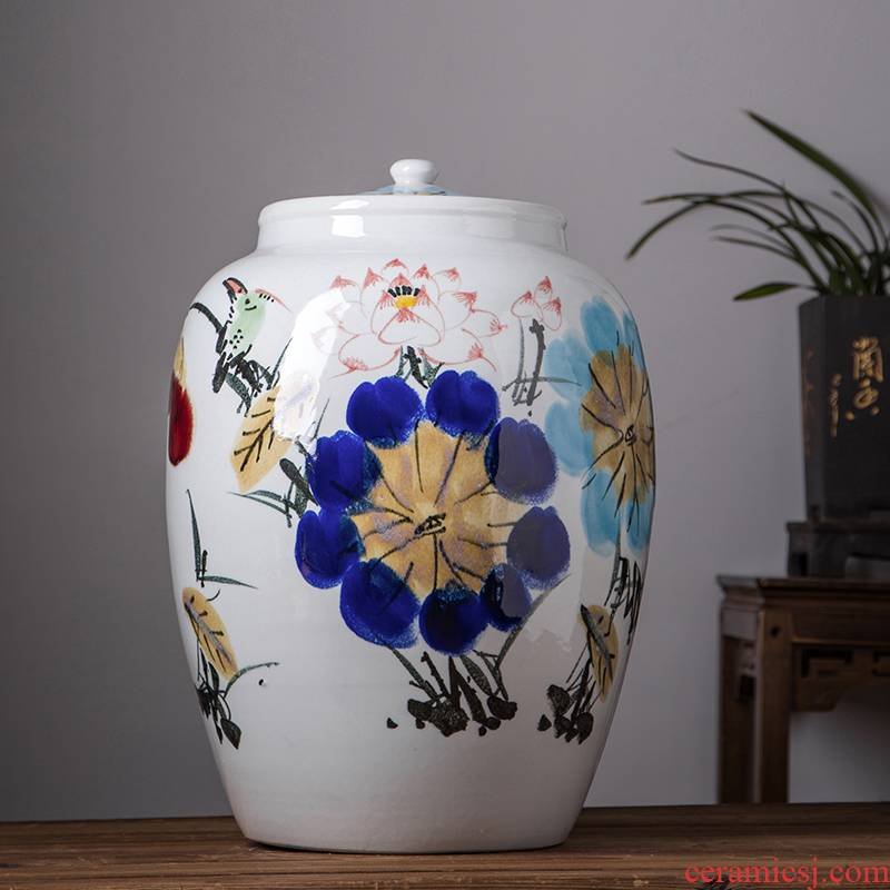 50 kg barrel ricer box with cover seal tea cake caddy fixings household jingdezhen ceramic tank moistureproof multigrain cylinder